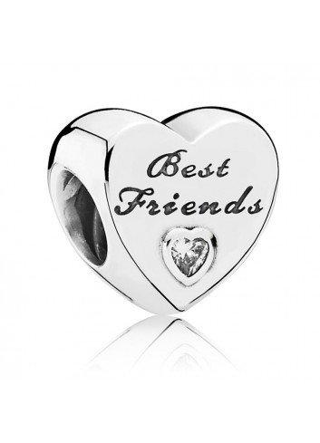 PANDORA CHARM PLATA CORAZON BEST FRIENDS