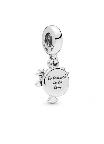 "PANDORA CHARM COLGANTE PLATA AVIONETA ""TO TRAVEL IS TO LIVE"""