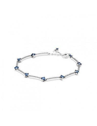 Pandora Bracelet Silver Bar Bright In Pave Blue